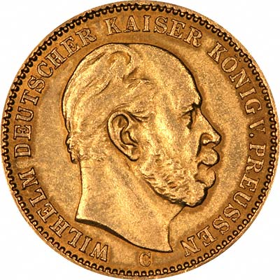 Head of Wilhelm I on Obverse of 1872 German 20 Marks