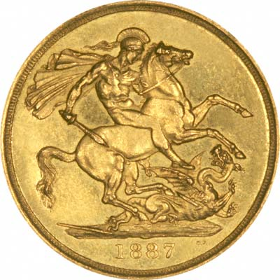 St George & Dragon on Reverse on 1887 Golden Jubilee Gold Coins