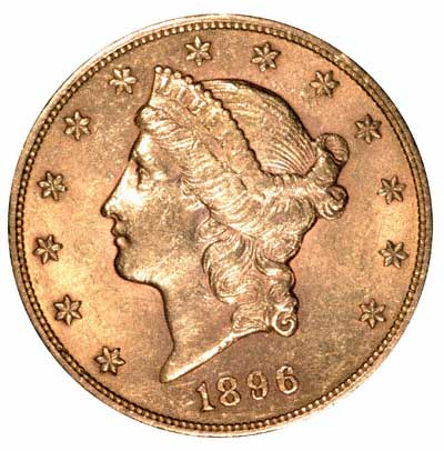 Liberty Head Obverse Design on an American Gold Double Eagle of 1896