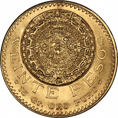 Reverse of 1918 Mexican 20 Pesos