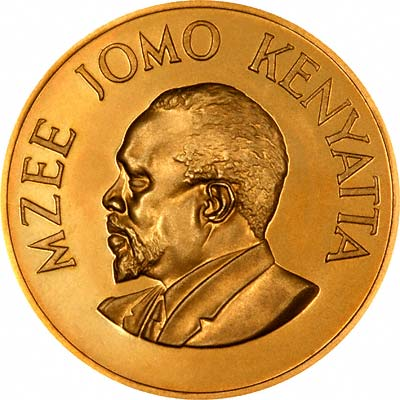Jomo Kenyatta on Obverse of 1966 Kenyan Gold Proof 250 Shillings