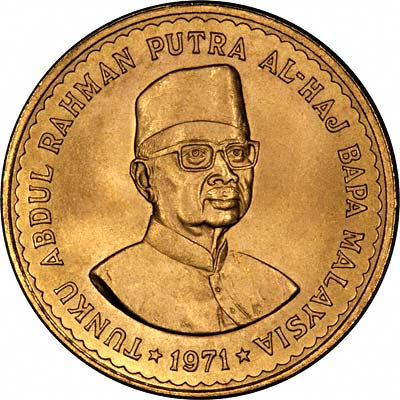 Obverse of 1971 Malaysia Gold 100 Ringgit