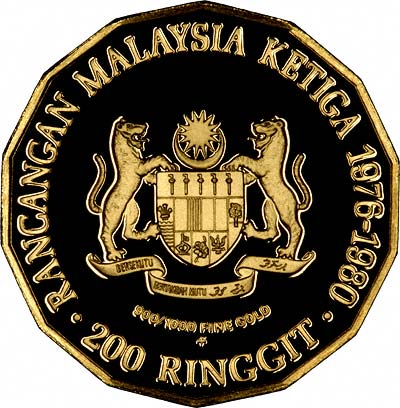 Obverse of 1976 Malaysia Gold 200 Ringgit