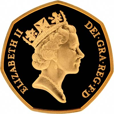 Obverse of Gold Proof Fifty Pence