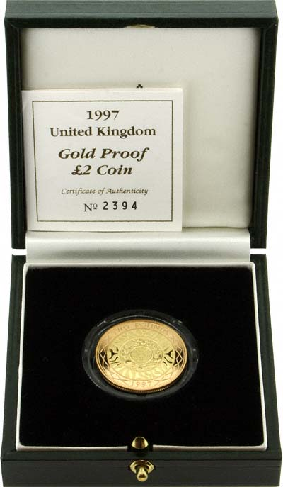 1997 First Bimetallic Gold £2 Coin in Box