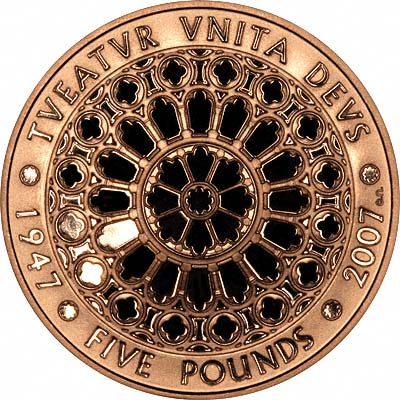Reverse of 2007 Gold Proof Five Pound Crown