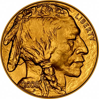 Indian Head on Obverse of 2008 US Gold Buffalo