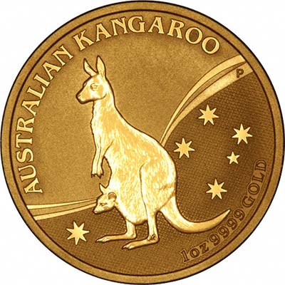 Reverse of One Ounce Australian Gold Kangaroo Nugget