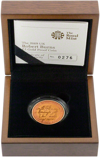 2009 Robert Burns Gold Proof Two Pounds in Presentation Box