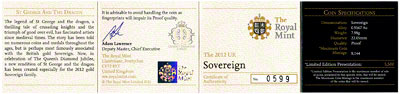 2012 Gold Proof Sovereign Certificate